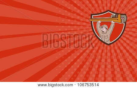 Business Card Plumber Lifting Monkey Wrench Crest Cartoon