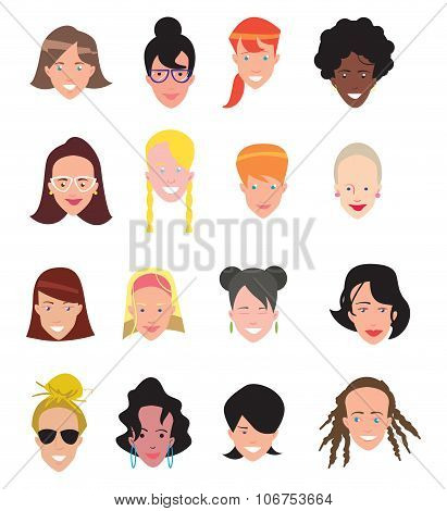 People icon. People icon isolated on white background. Woman avatar. Flat line icons set of people. People flat icons collection. Woman characters. Woman profile. Female avatar. Woman icon vector. Avatar.