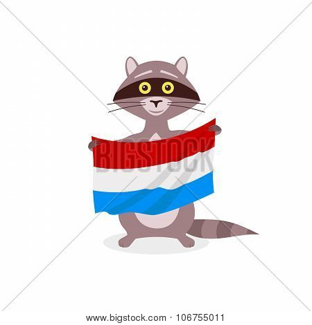 Raccoon And Flag Luxembourg