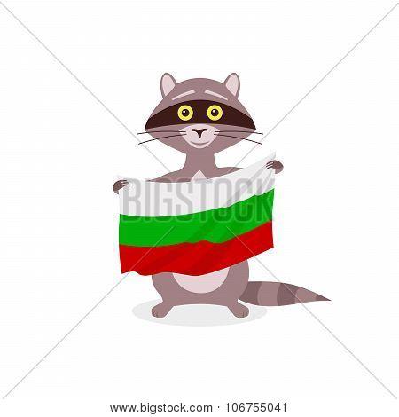 Raccoon And Flag Bulgaria