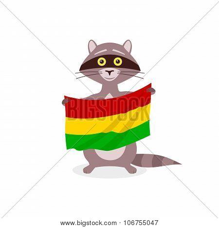 Raccoon And Flag Bolivia