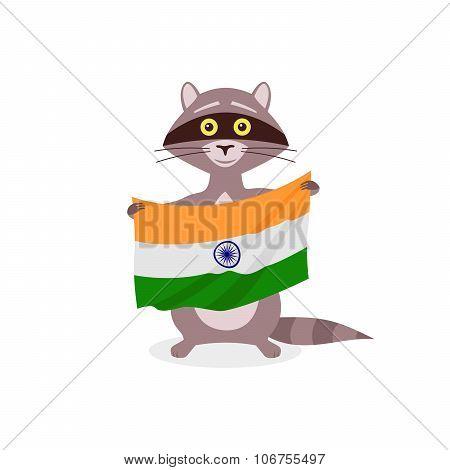 Raccoon And Flag India