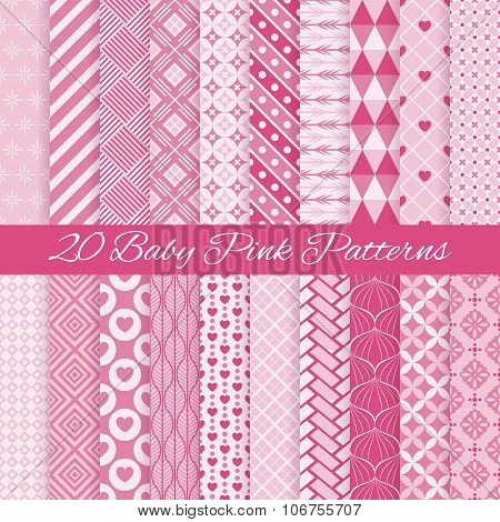 Baby pink seamless patterns. Vector illustration