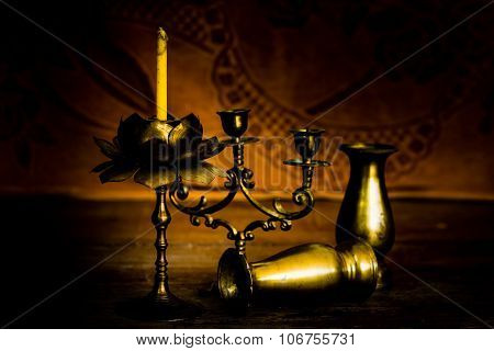 Candlesticks, Vases And Candle