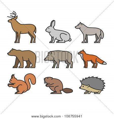 Painted Outline Figures Of Forest Animals