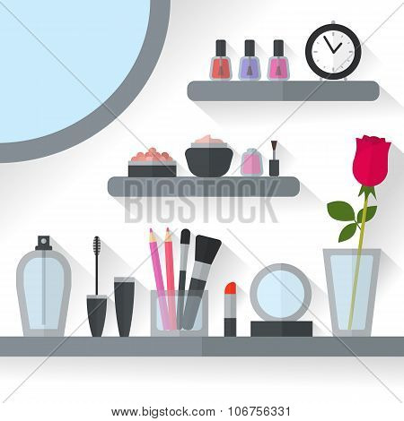 Home dressing table interior vector illustration