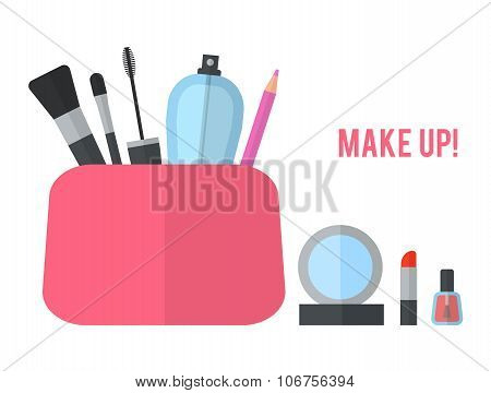 Make up concept vector flat illustration