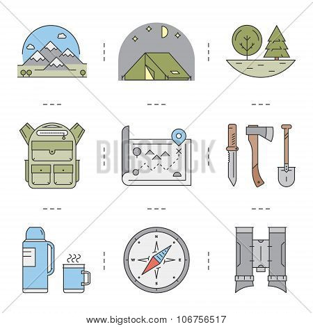 Line Icons Set Of Hiking And Camping And Tourism