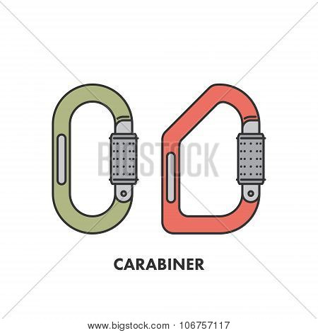 Line Icon Carabiner In Color