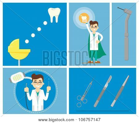 Dental infographics of vector illustration of dentist office or dental clinic. Tooth care, dental care, tooth oral brush toothpaste. Dental illustration, Dental tools. Dentist work. Dental service.