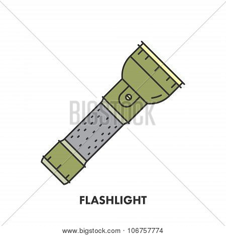 Line Icon Flashlight In Color