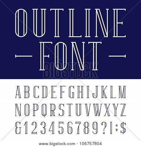 Decorative outline alphabet vector font.