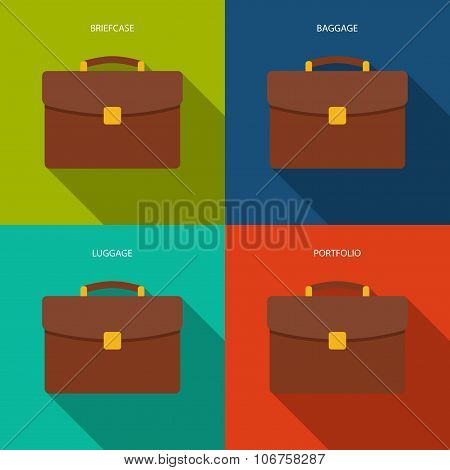 Briefcase Icons Set In The Style Flat Design On The Background Different Color. Stock Vector Illustr