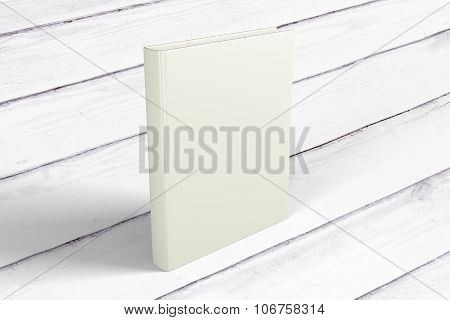 Blank White Book Cover On Wooden Floor, Mock Up