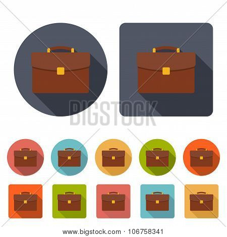 Briefcase Icons Set In The Style Flat On The White Background. Stock Vector Illustration Eps10