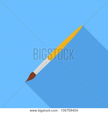 Brush Icon In The Style Flat Design On A Blue Background. Stock Vector Illustration Eps10