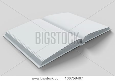 Blank White Open Diary Pages On White Table,  Mock Up
