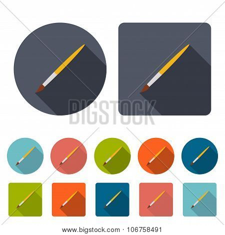 Brush Icons Set In The Style Flat Design On A White Background. Stock Vector Illustration Eps10