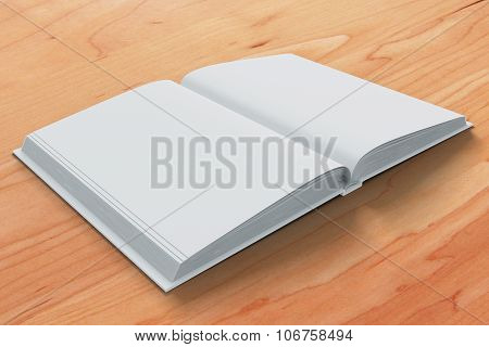 Blank White Open Diary Pages On Wooden Table,  Mock Up