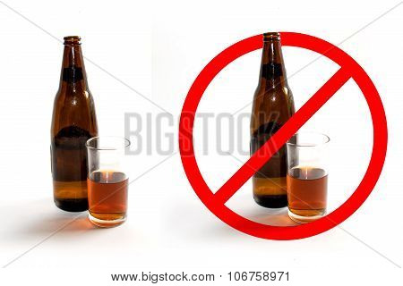 Liquor bottles and glass of liquor and stop sign on white background