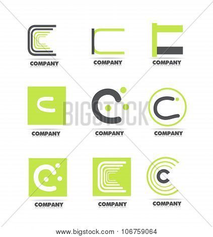 Letter C Green Icon Logo Set