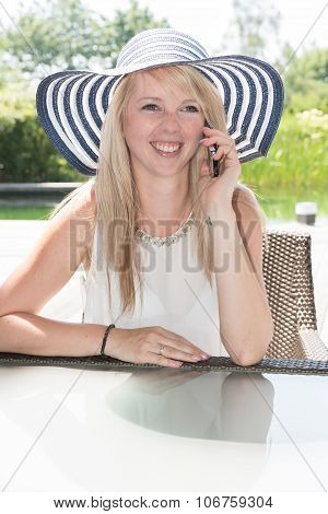 Young Beautiful Woman Is Having A Phone Call