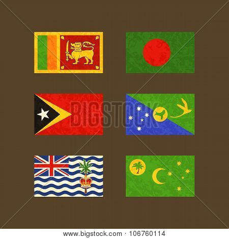 Flags Of Sri Lanka, Bangladesh, East Timor, Christmas Island, Cocos Islands And British Indian Ocean
