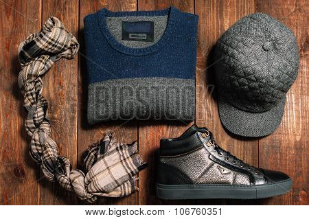 Collection Of Men's Warm Autumn Clothes For Interenet Shop.