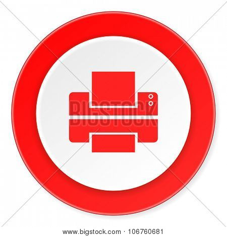 printer red circle 3d modern design flat icon on white background