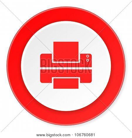 printer red circle 3d modern design flat icon on white background