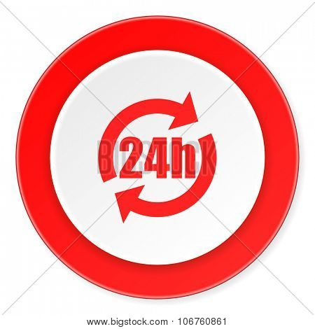 24h red circle 3d modern design flat icon on white background