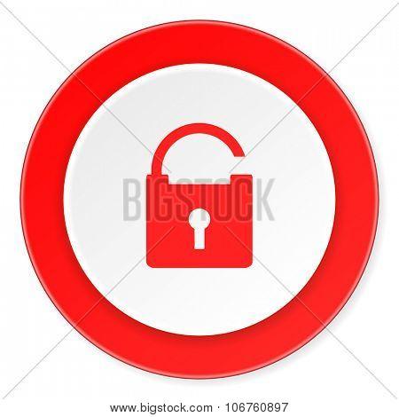 padlock red circle 3d modern design flat icon on white background