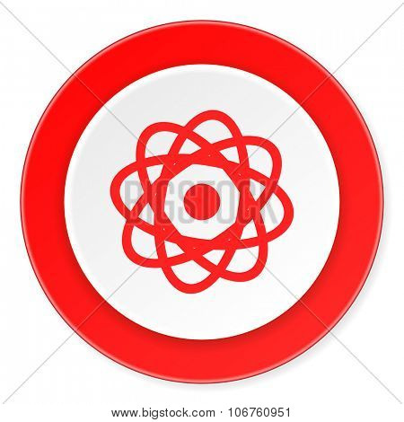 atom red circle 3d modern design flat icon on white background