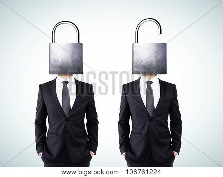 Businessman With Open And Closed Head Lock