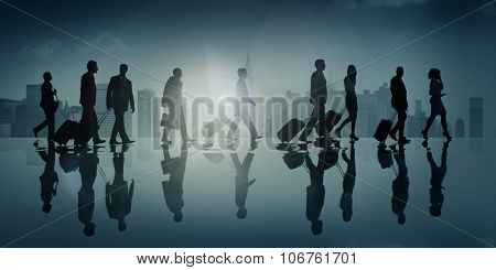 Group of Business People in Town Travel Walking Concept