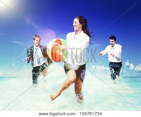 Business People Fun Playing Beach Travel Concept
