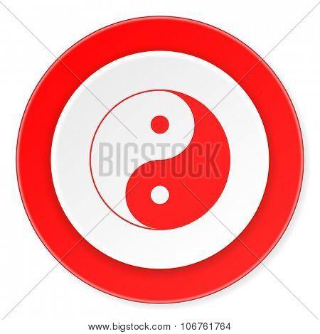yin yang red circle 3d modern design flat icon on white background