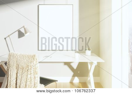 Blank Picture Frame On The Wall In Sunny Room With Lamp On The Table And Chair, Mock Up
