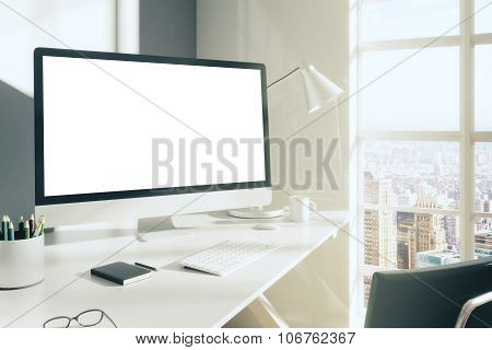 Blank Computer Desktop With Keyboard, Diary And Other Accesories On White Table In Sunny Room, Mock