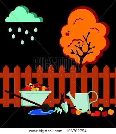 Autumn time garden flat style composition with a brown fence, metal watering can, an apple tree with