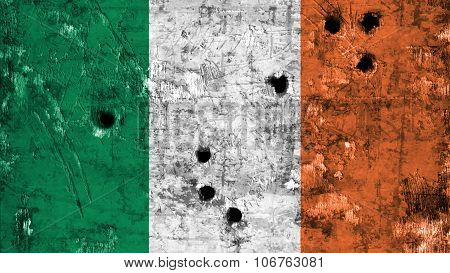 Flag of Ireland, Irish Flag painted on metal texture with bullet holes