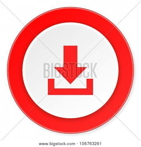 download red circle 3d modern design flat icon on white background