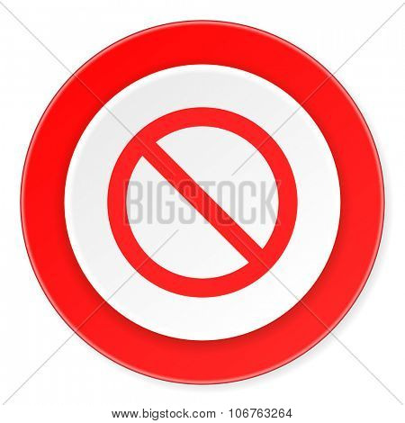 access denied red circle 3d modern design flat icon on white background