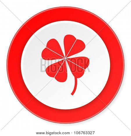 four-leaf clover red circle 3d modern design flat icon on white background