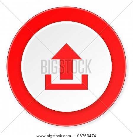 upload red circle 3d modern design flat icon on white background