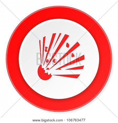 bomb red circle 3d modern design flat icon on white background