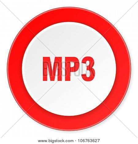 mp3 red circle 3d modern design flat icon on white background