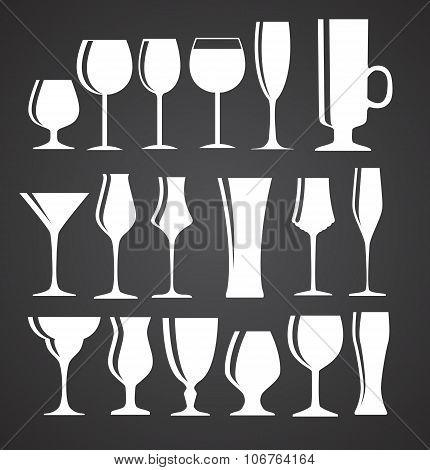 Set of Black Alcoholic Glass Silhouette Vector Illustration EPS1