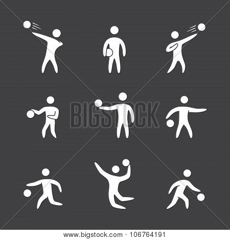 Silhouettes Of Figures Basketball Player Icons Set