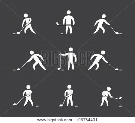 Silhouettes Of Figures Hockey Player Icons Set